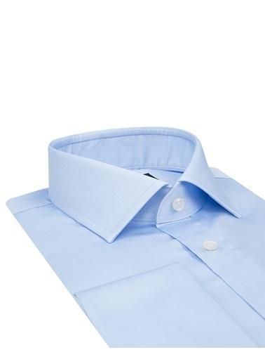 D'S Damat Slim Fit Düz Nano Care Gömlek Mavi